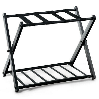 Folding Metal Luggage Rack Suitcase with Shelf Black