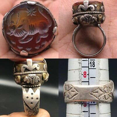 Solid Silver Wonderful Old Agate Rare Stone cow intaglio Seal Beautiful Ring