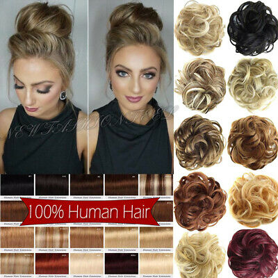 US Messy Bun Scrunchie Hair Extensions Wavy THICK Ponytail Real 100% Human Hair