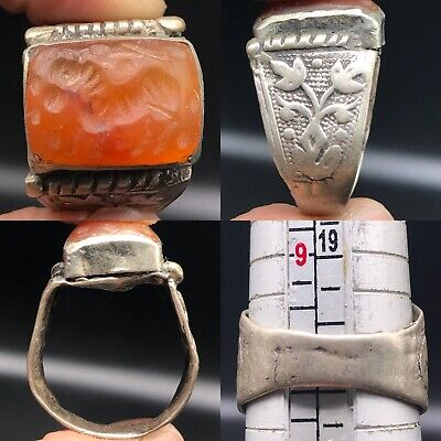 Silver Near Eastern Old Medieval Agate stone intaglio Lovely Ring