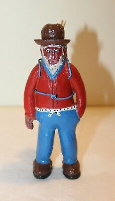 Folk Art/ Primative Carved & Painted Wooden Man Carrying Corn Cob Pack
