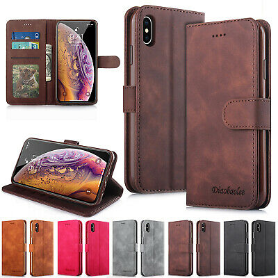 For iPhone 11 Pro Max 6s 7 8+ XS XR Case Retro Magnet Flip Leather Wallet Cover