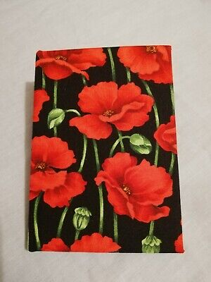Fabric Covered Hardback Notebook- Poppy - Christmas Gift Stocking Filler Size A6