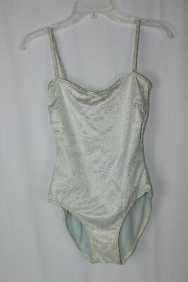 Vintage White Silver Christian Dior 80s One Piece Size 10 Bathing Suit Swimsuit