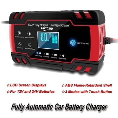 12V 8A/24V 4A Fully Automatic Car Battery Charger Car Motorcycle Battery Charger
