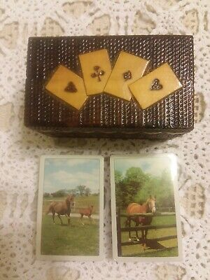 Vintage Handmade Wood Hand Carved Playing Card Two Deck Box with Cards 1978