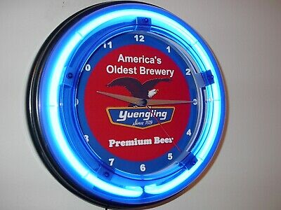 Yuengling Beer Bar Man Cave Blue Neon Advertising Wall Clock Sign