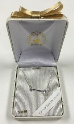 Disney Parks Silver Mickey Mouse Lock Key Swarovski Crystal Necklace New in Box