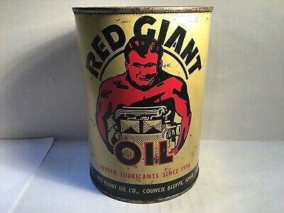 Vintage Red Giant Oil Can Quart Metal gas rare sign tin handy Indian Tydol Mobil