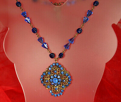 ART DECO CZECH Necklace 1930s Signed COBALT CRYSTALS Molded Glass ADUSTABLE Fab!