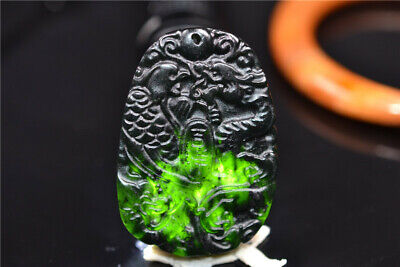 Chinese Dark Jade Handmade carving Dragon Phoenix Pendant have flaws Blemish 162