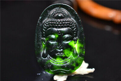 Chinese Dark Jade Handmade carving Buddha head Pendant have flaws Blemish  157