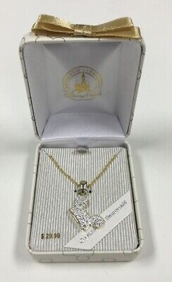 Disney Parks Mickey Mouse Gold/Silver Tone Swarovski Crystal Necklace New in Box