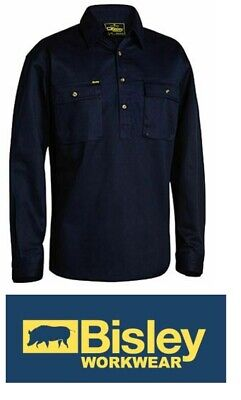 NEW BISLEY Closed Front Cotton Drill Shirt - Long Sleeve NAVY Size 4XL BSC6433