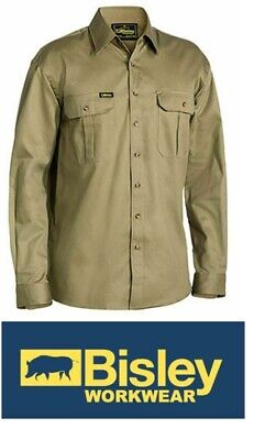 NEW BISLEY Closed Front Cotton Drill Shirt - Long Sleeve Size 3XL KHAKI BSC6433