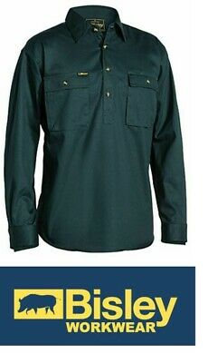 NEW BISLEY Closed Front Cotton Drill Shirt - Long Sleeve Size 4XL GREEN BSC6433