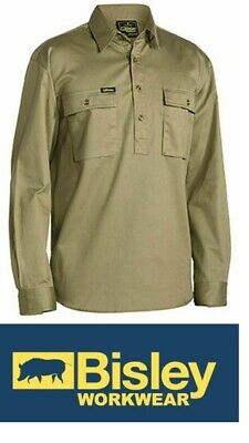 NEW BISLEY Closed Front Cotton Drill Shirt - Long Sleeve Khaki 4XL BSC6433