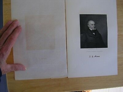 JOHN QUINCY ADAMS 1800s engraved by J.W.Paradise from painting by A.B.Durand.