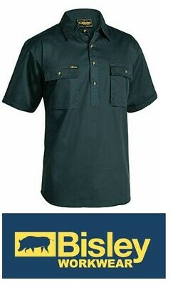 NEW BISLEY Closed Front Cotton Drill Shirt - Short Sleve Green Size 5XL BSC1433