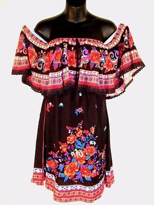 Black Flying Tomato Off the Shoulder Dress Size Small NWT Peasant Roses NEW Boho