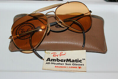 58-14 Vintage B&L Ray Ban Changeables Ambermatic Outdoorsman Aviator Sunglasses