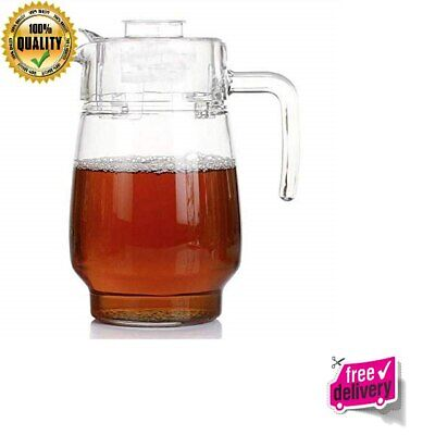 New Glass Pitcher With Lid Hot Cold Water Carafe Juice Jar And Iced Tea Pitcher