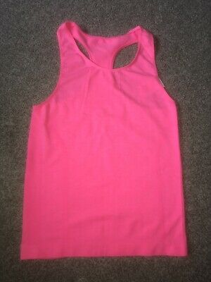 Girls Age 10 Pink Racer Back Vest Top Neon Pink Stretch Dance Gymnastics Peacock