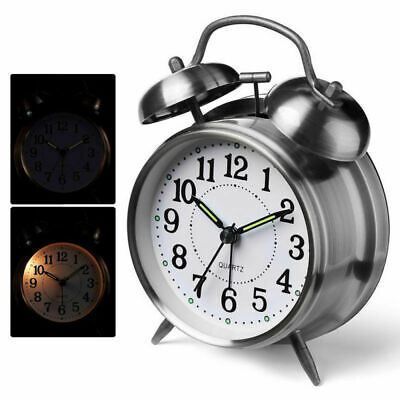 Metal Retro Loud Round Double Bell Pointer Alarm Clock Mechanical Key Kid Gift