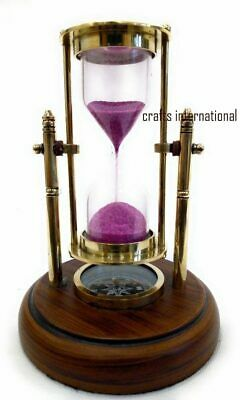 Brass Antique Sand Timer with Compass On Wooden Base Hour Glass Clock Nautical