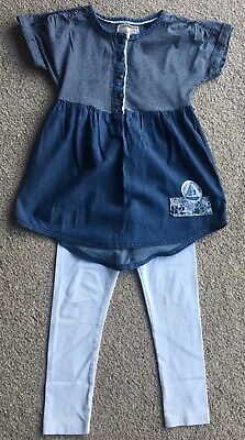 Next Girls Blue Top And White Leggings Outfit Set Size 6 Years