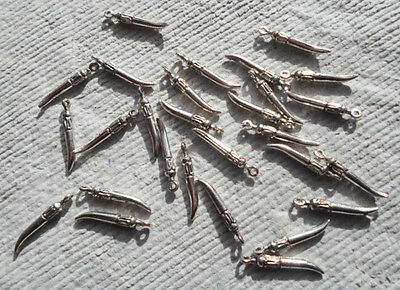 50 Tibetan Style Charms - Antique Silver Daggers