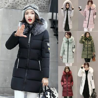 Hot Women's Girls Winter Slim fur winter Coat Hooded Cotton Parka Padded Jackets