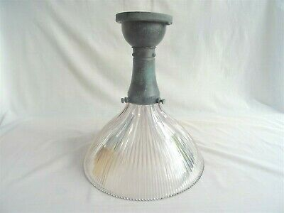 Superb Antique or Vintage Holophane Pendant Glass Light Shade with Fitting