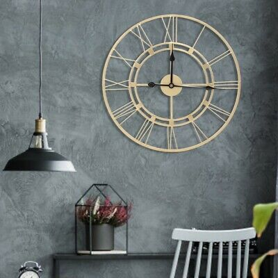 Large Round Skeleton Roman Numeral Modern Home Minimalist Kitchen Wall Clock