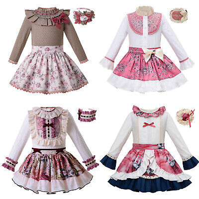 Kid Girls Floral Splice Outfit Blouse Pleat Skirt Set Spanish Frilly Long Sleeve