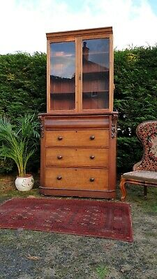 Antique Victorian Glazed 2 Part Bookcase Display Cabinet & Cupboard Delivery Av#