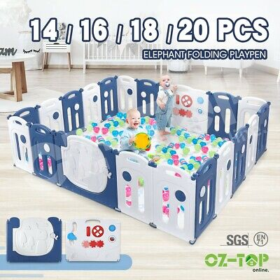 【11% OFF】Interactive Baby Playpen Safety Gates Elephant Design w/ Drawing Board