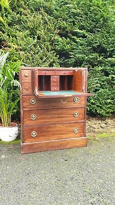 Antique Georgian Secretaire Bureau Mahogany Bookcase Desk Chest 19th Century