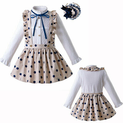 Girl Long Sleeve Blouse Polka Dot Suspender Skirt Petticoat Headband Set Spanish