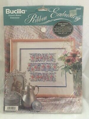 Home Sweet Home 1994 Bucilla Stamped Ribbon Embroidery Kit #406969
