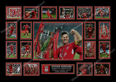 Steven Gerrard Signed A4 Photo Print Limited Edition Football Memorabilia