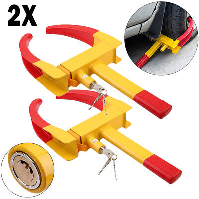 2X Heavy Duty Wheel Clamp Lock Car Trailer Caravan Security AntiTheft Locking J5