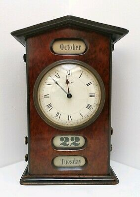 Vtg Victorian French 8 Day Walnut Mantle Desk Clock Perpetual Day Date Calendar