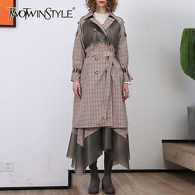 Fp Donna Plaid Set Due Pezzi Bavero Colletto Cappotto Trench e Vita Alta Gonna