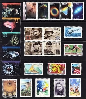 US stamps:  2000 Commemorative Year Set  MNH  below face