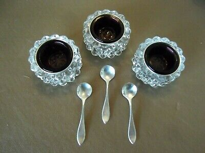 Vtg (3) Open Salt Cellars~Sterling Silver Liners~Amethyst Glass Cups~Spoons