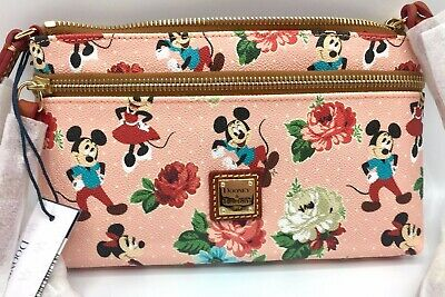 NWT! Disney Dooney & Bourke MICKEY MINNIE MOUSE FLORAL POUCH Pink Dapper
