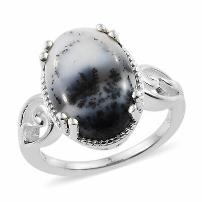 Genuine Dendritic Agate Ring in Sterling Silver (Size 10.0) 3.95 ctw   #03