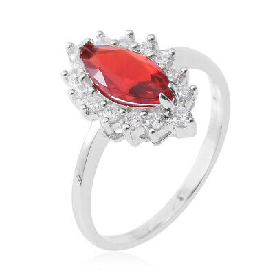 Red & White Diamond Ring in Solid Sterling Silver (Size 10.0) 2.71 ctw   #05