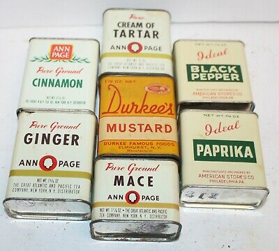 Lot Of 7 Vintage Spice Tins Durkee's Ideal Ann Page GInger Mace Tartar Cinnamon